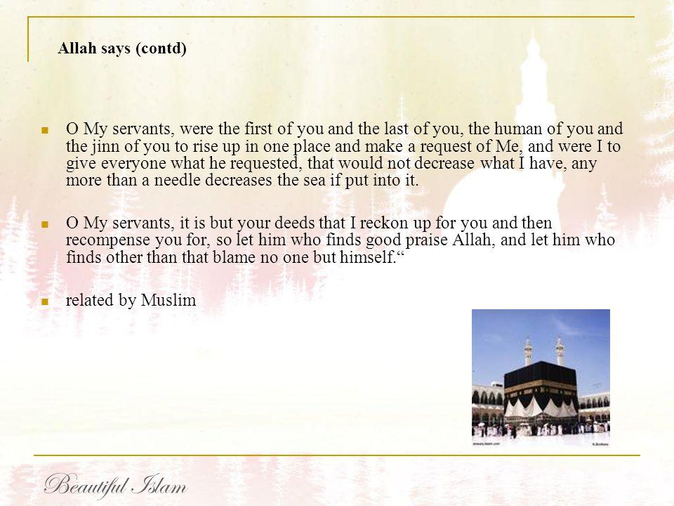 Allah says (contd)