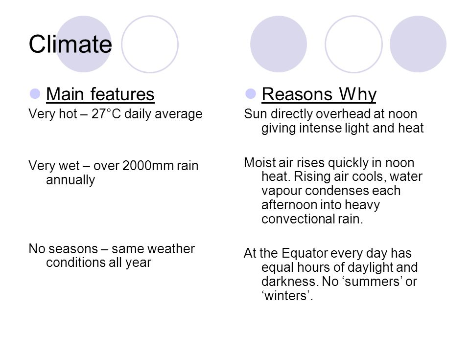 Climate Main features Reasons Why Very hot – 27°C daily average