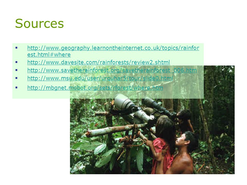 Sources http://www.geography.learnontheinternet.co.uk/topics/rainforest.html#where. http://www.davesite.com/rainforests/review2.shtml.