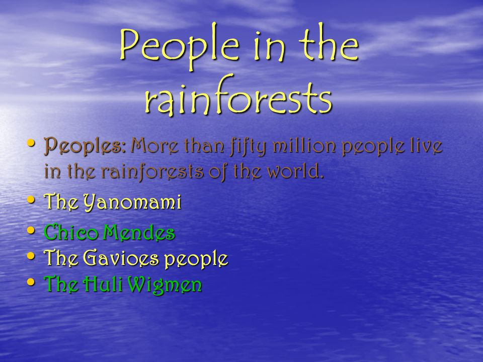 People in the rainforests