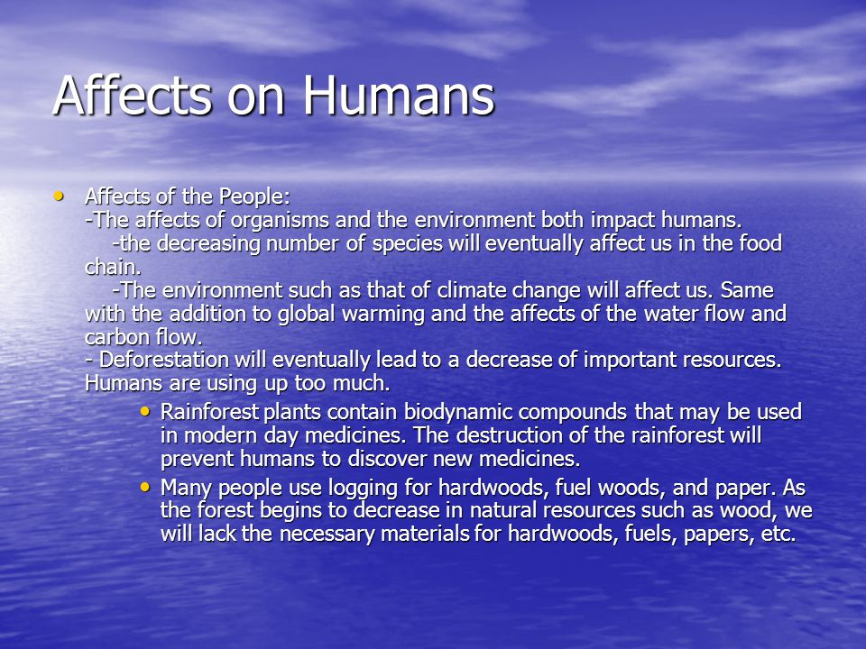 Affects on Humans
