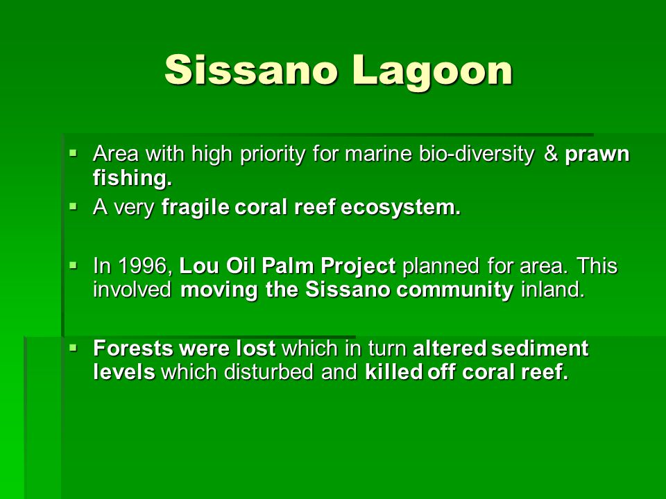 Sissano Lagoon Area with high priority for marine bio-diversity & prawn fishing. A very fragile coral reef ecosystem.