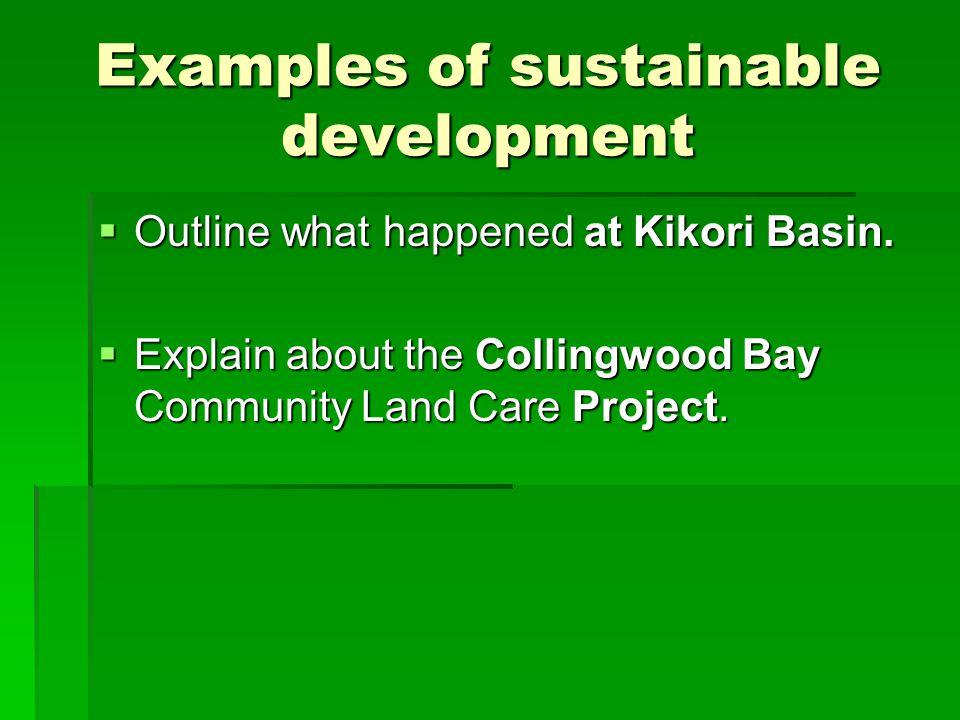 Examples of sustainable development