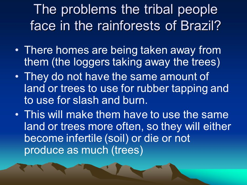 The problems the tribal people face in the rainforests of Brazil