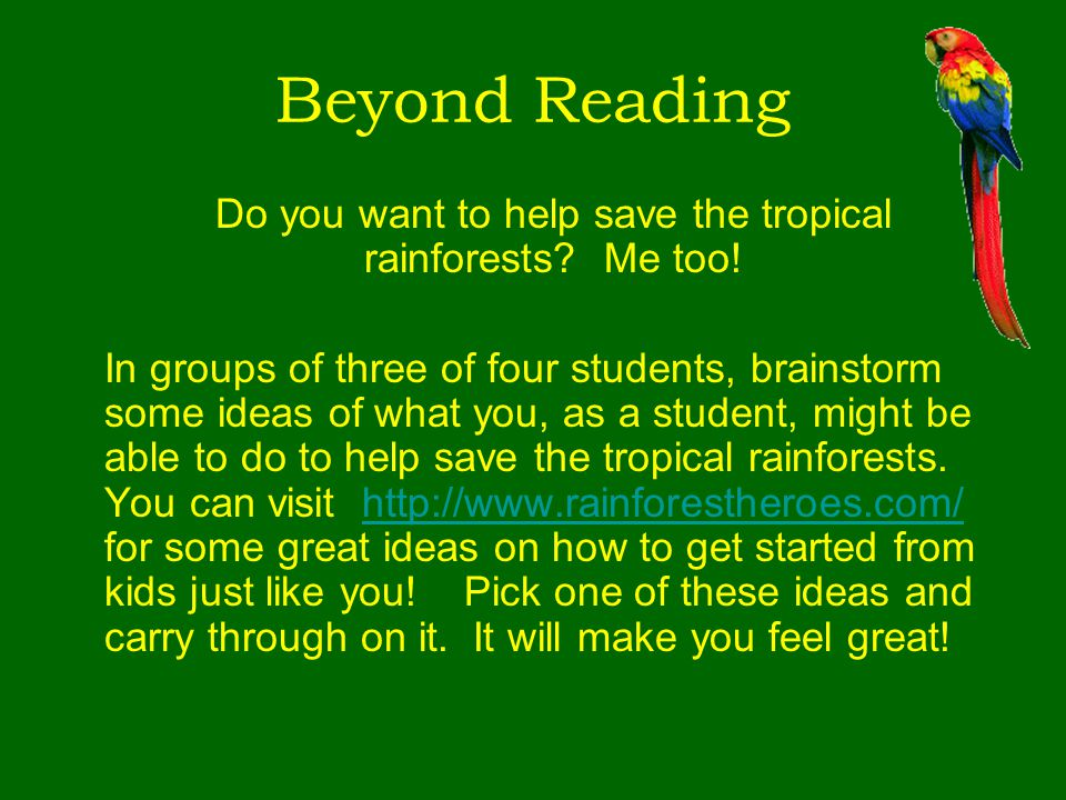 Do you want to help save the tropical rainforests Me too!