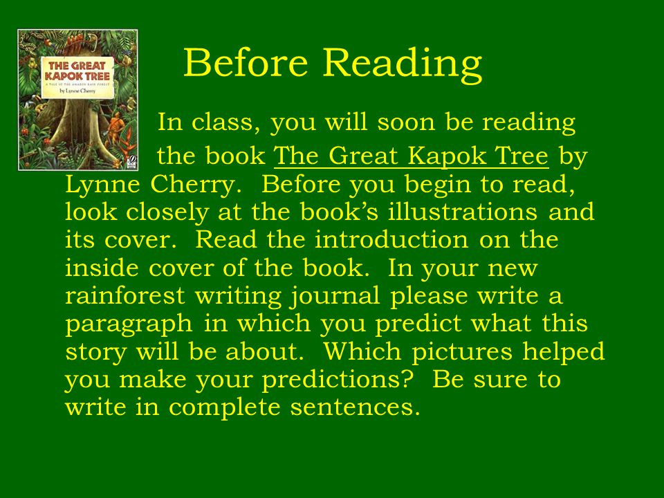 Before Reading In class, you will soon be reading.