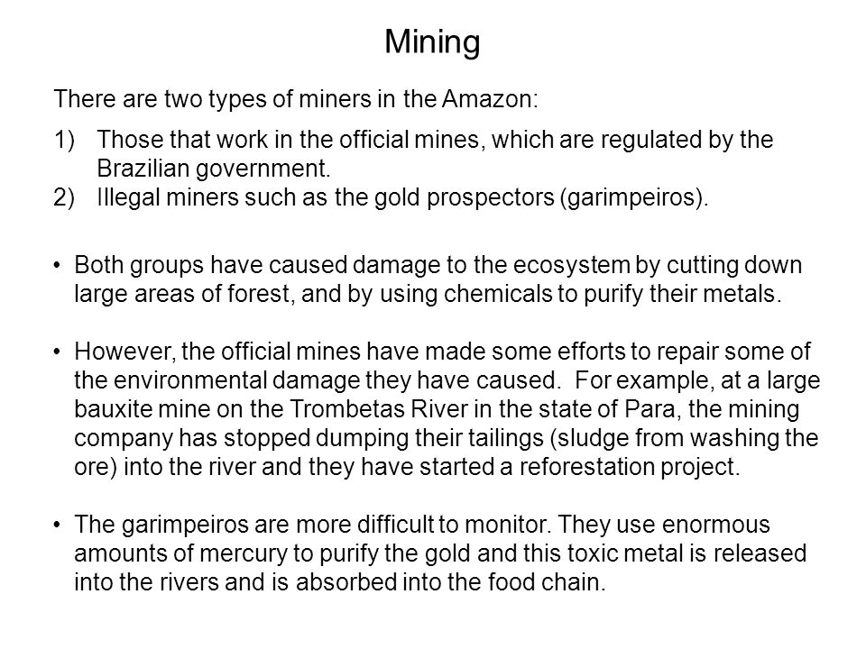 Mining There are two types of miners in the Amazon: