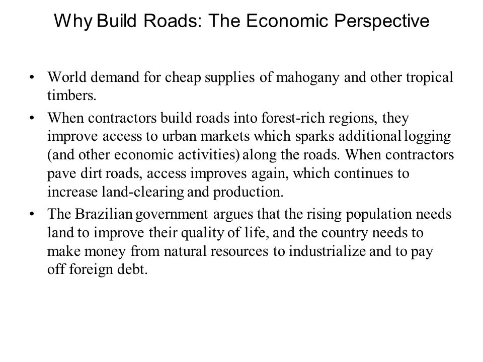 Why Build Roads: The Economic Perspective