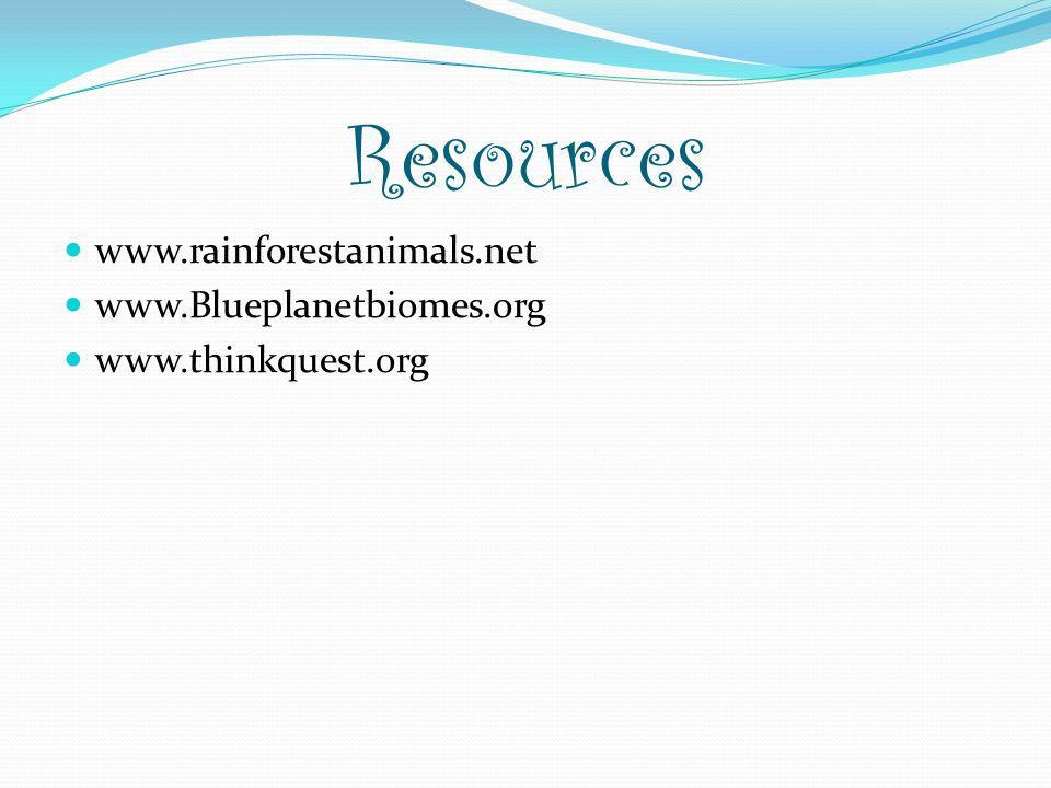 Resources www.rainforestanimals.net www.Blueplanetbiomes.org