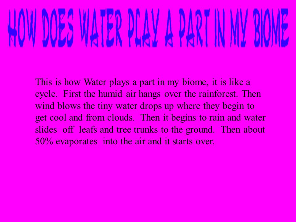 This is how Water plays a part in my biome, it is like a cycle