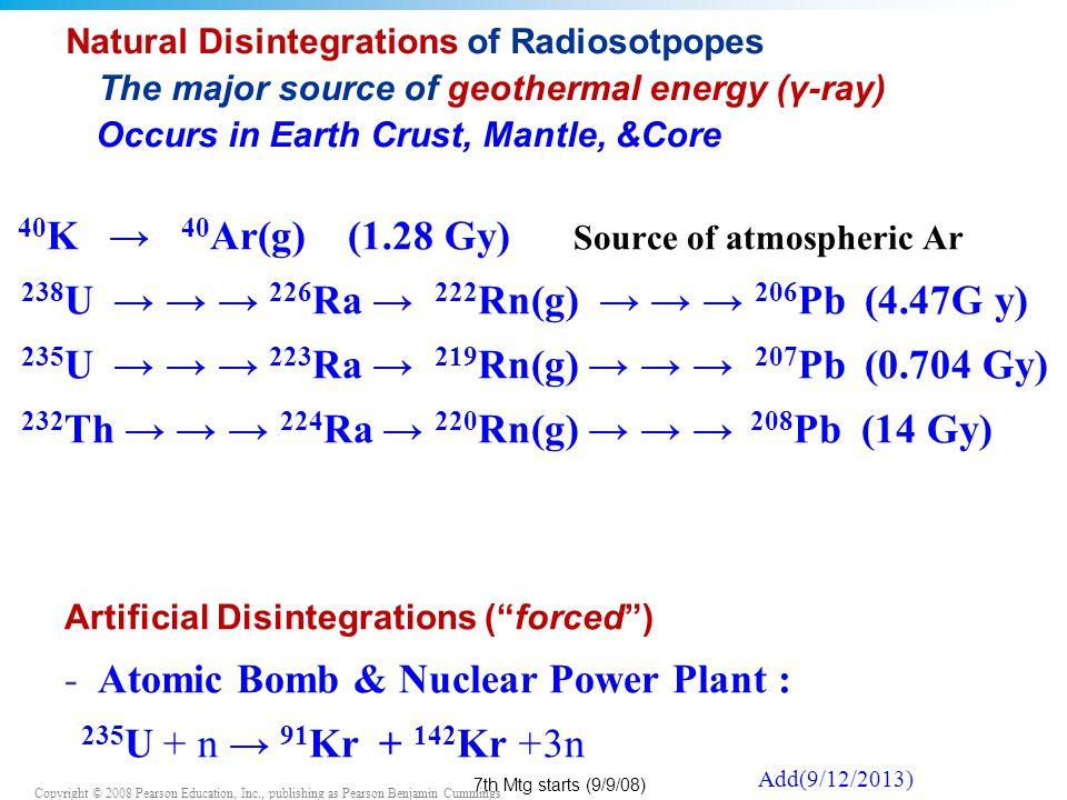 40K → 40Ar(g) (1.28 Gy) Source of atmospheric Ar