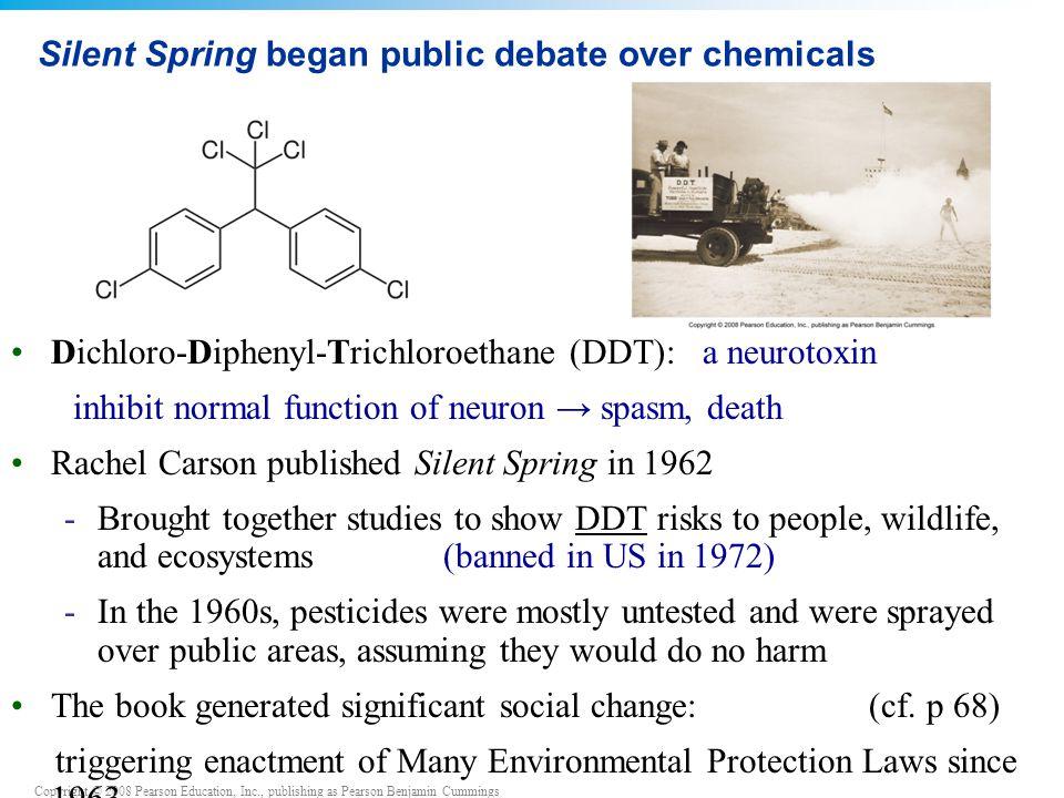 Silent Spring began public debate over chemicals