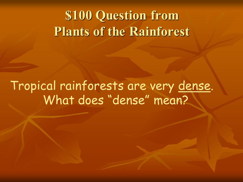 $100 Question from Plants of the Rainforest