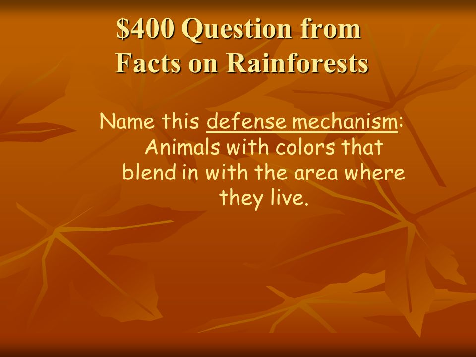 $400 Question from Facts on Rainforests