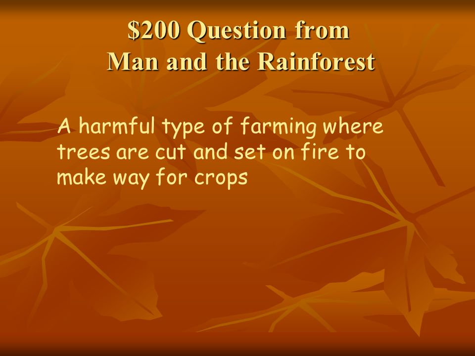 $200 Question from Man and the Rainforest