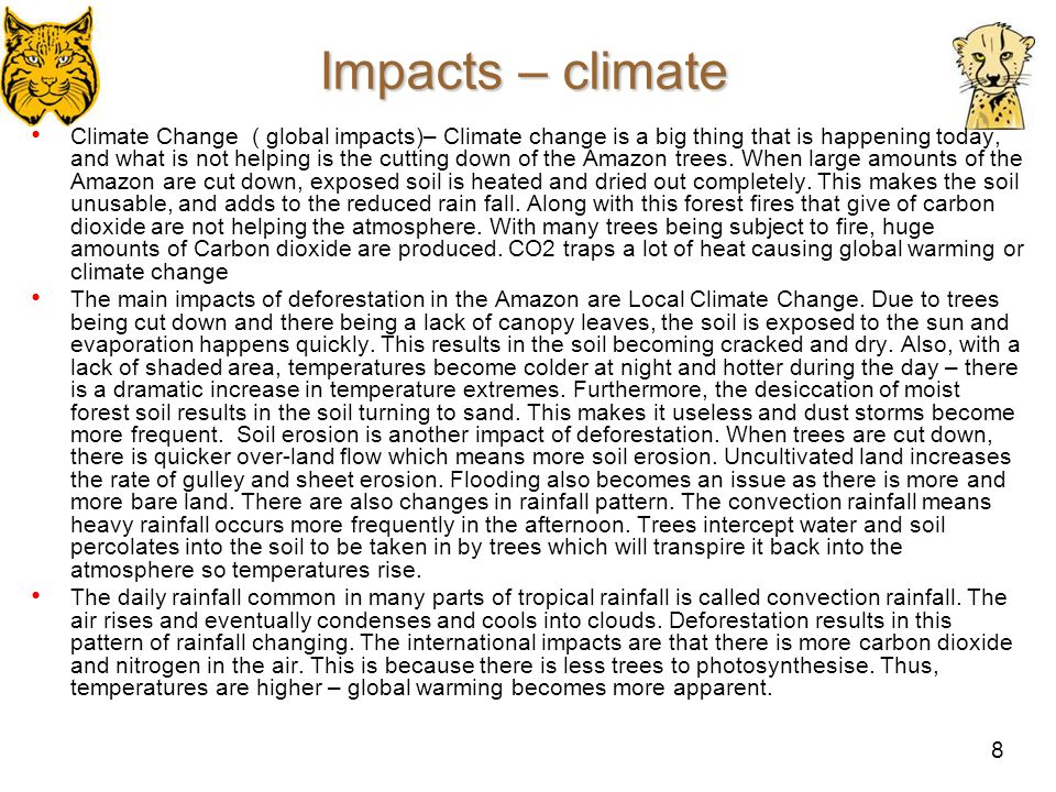 Impacts – climate