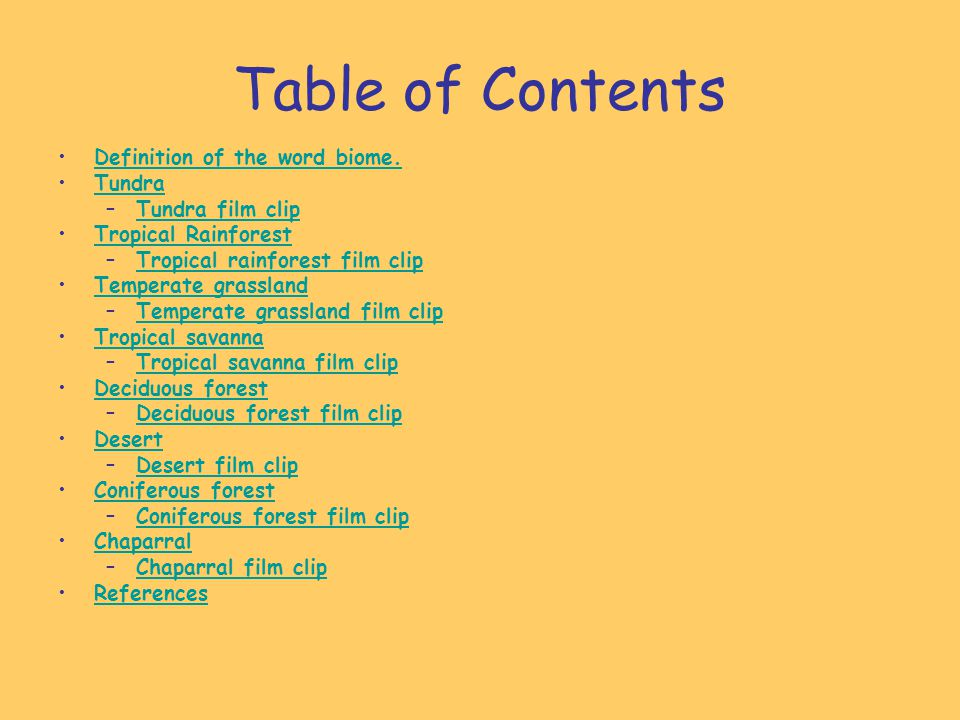 Table of Contents Definition of the word biome. Tundra