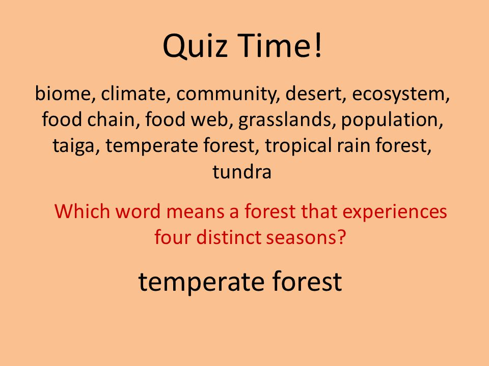 Which word means a forest that experiences four distinct seasons
