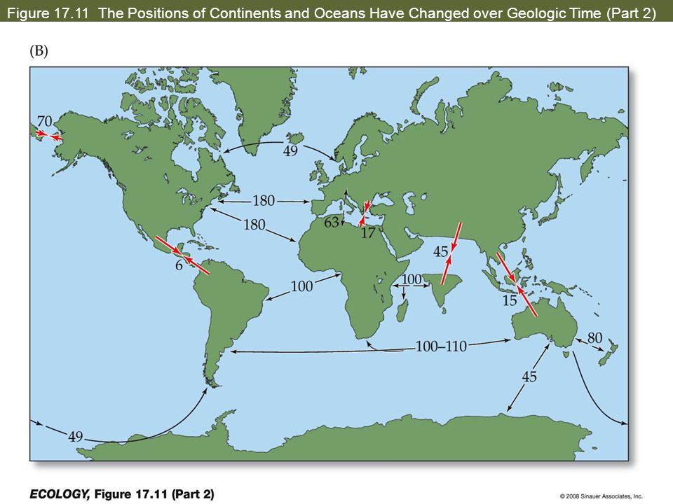Figure 17.11 The Positions of Continents and Oceans Have Changed over Geologic Time (Part 2)