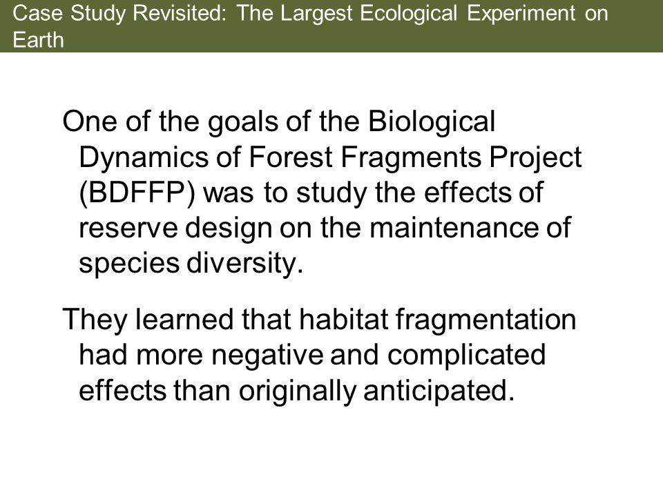 Case Study Revisited: The Largest Ecological Experiment on Earth