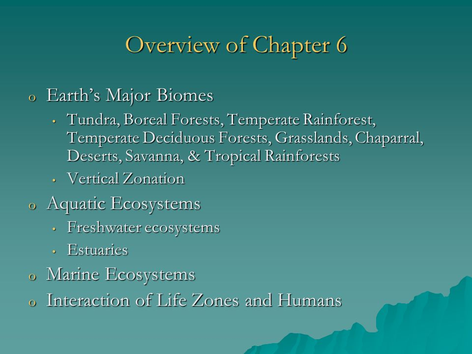 Overview of Chapter 6 Earth's Major Biomes Aquatic Ecosystems