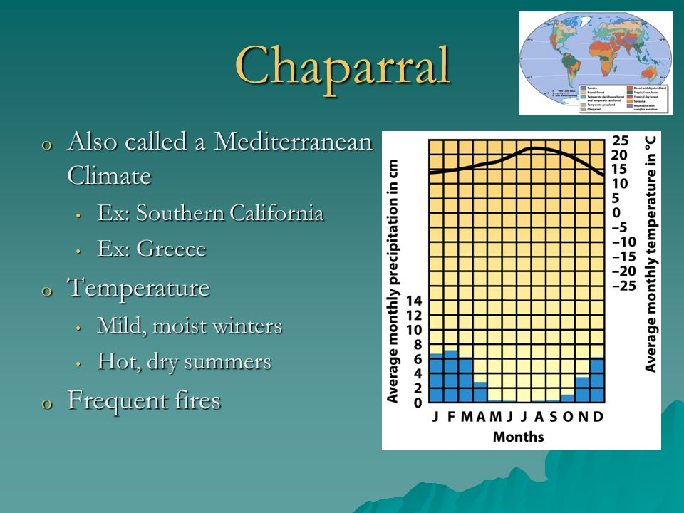 Chaparral Also called a Mediterranean Climate Temperature