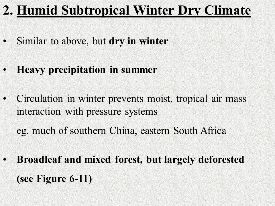Humid Subtropical Winter Dry Climate