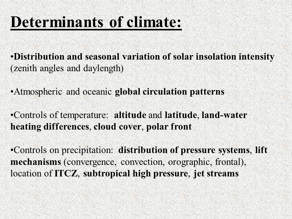 Determinants of climate: