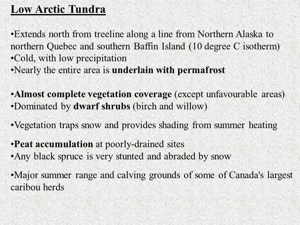 Low Arctic Tundra Extends north from treeline along a line from Northern Alaska to northern Quebec and southern Baffin Island (10 degree C isotherm)