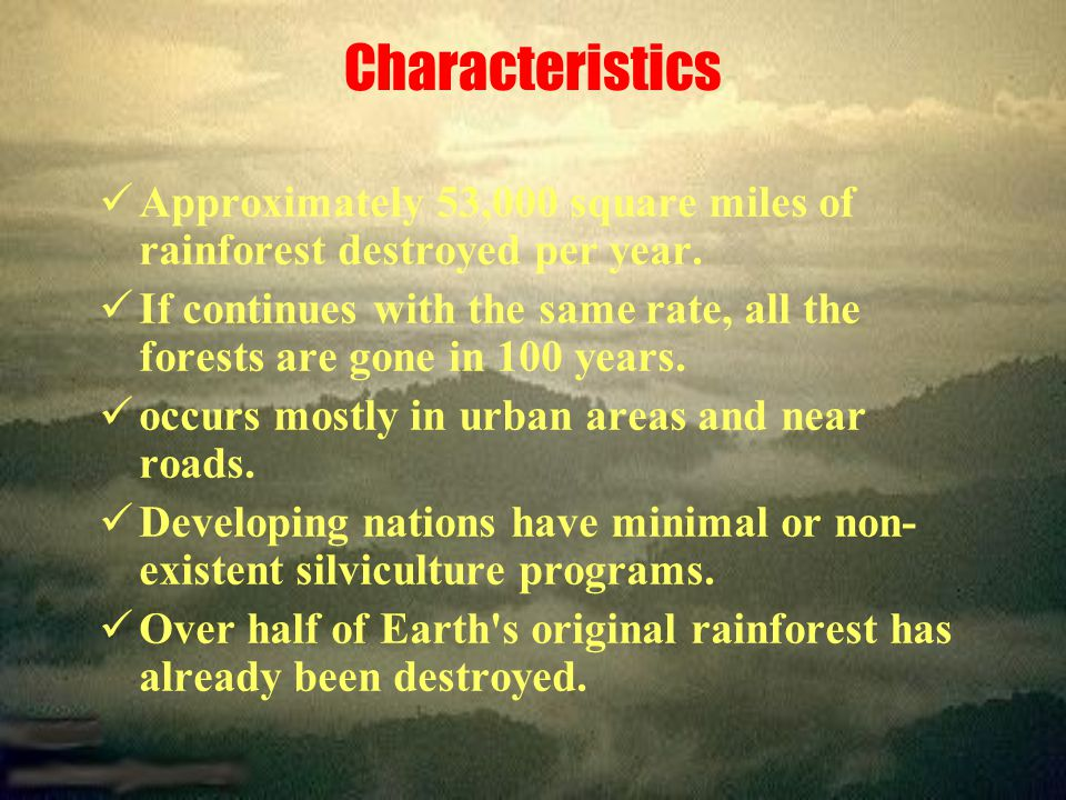 Characteristics Approximately 53,000 square miles of rainforest destroyed per year.