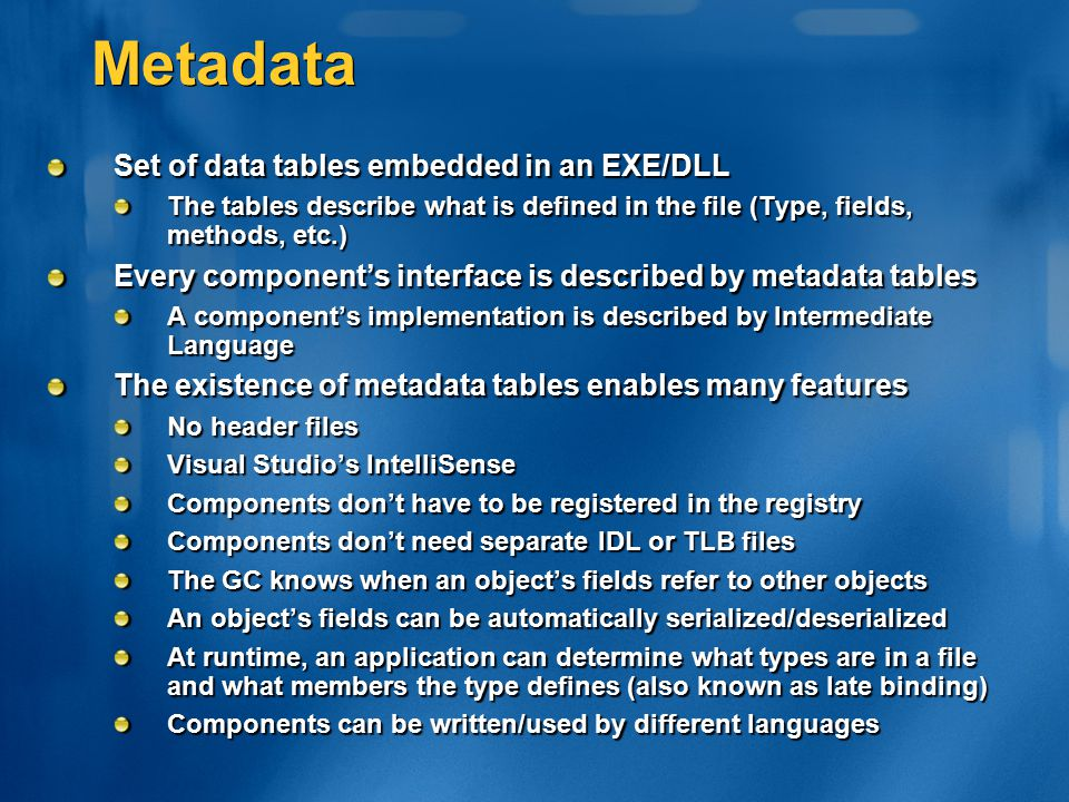 Metadata Set of data tables embedded in an EXE/DLL