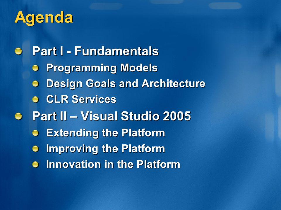Agenda Part I - Fundamentals Part II – Visual Studio 2005