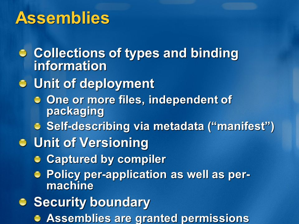 Assemblies Collections of types and binding information