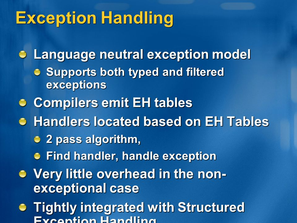 Exception Handling Language neutral exception model