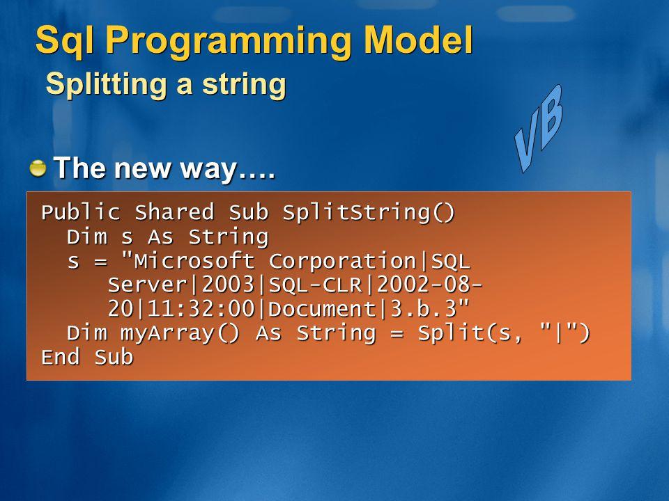 Sql Programming Model Splitting a string