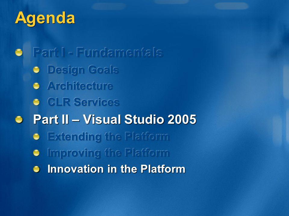Agenda Part I - Fundamentals Part II – Visual Studio 2005 Design Goals