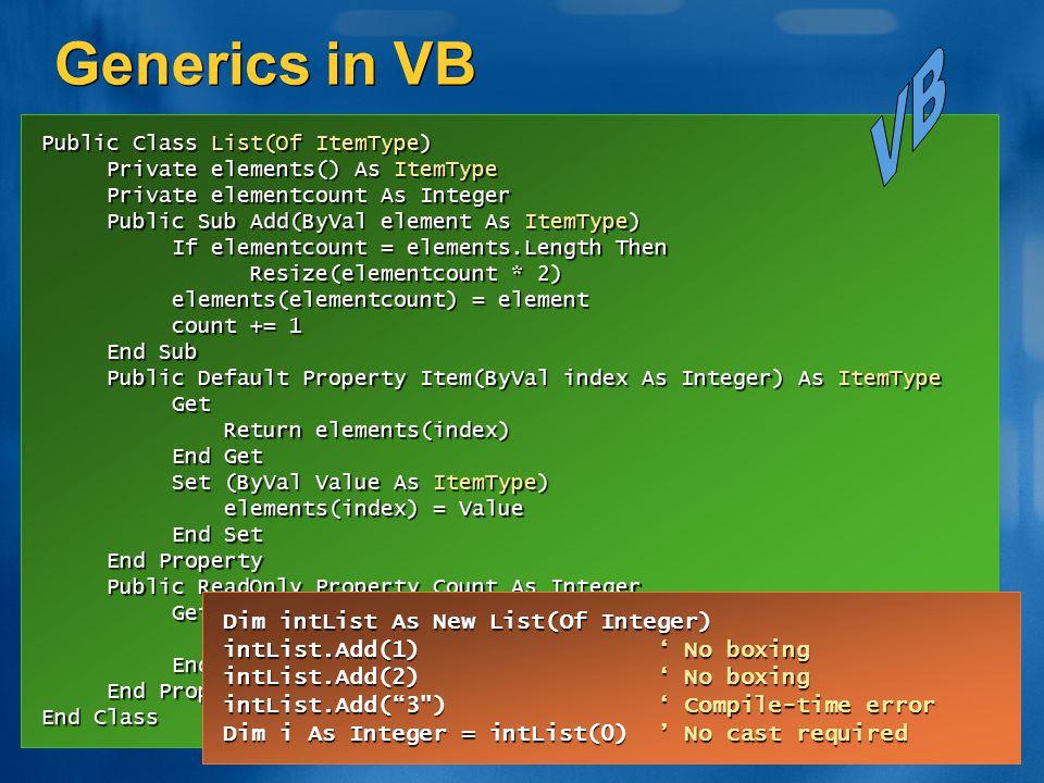 Generics in VB VB Dim intList As New List(Of Integer)