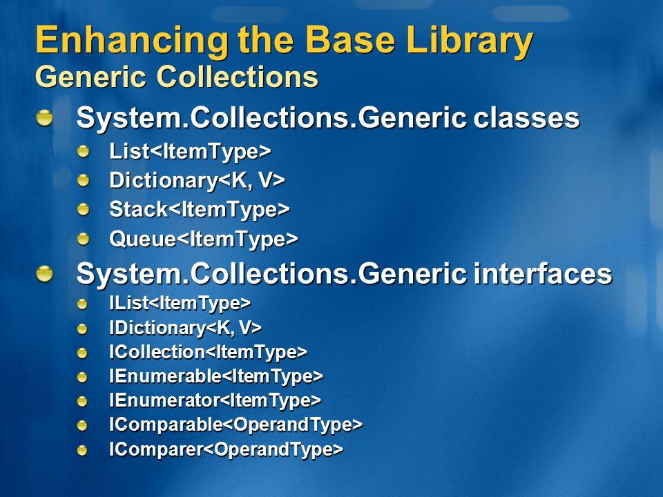 Enhancing the Base Library Generic Collections