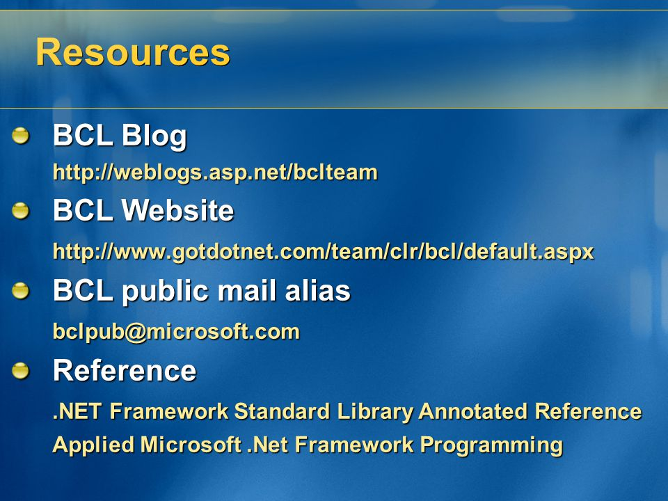 Resources BCL Blog BCL Website BCL public mail alias Reference