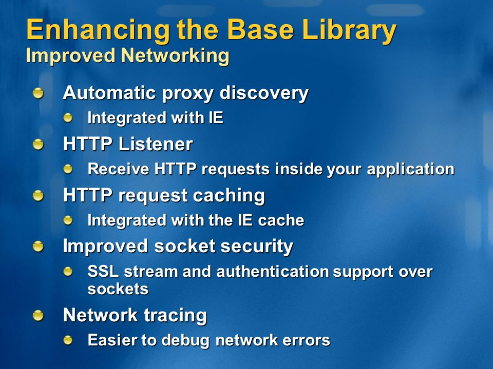 Enhancing the Base Library Improved Networking