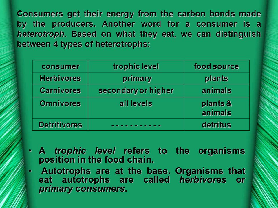 A trophic level refers to the organisms position in the food chain.
