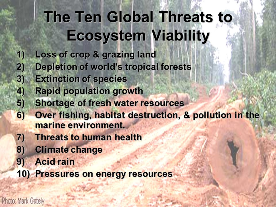 The Ten Global Threats to Ecosystem Viability