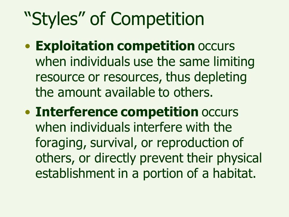Styles of Competition