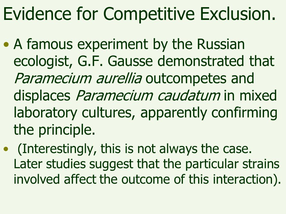 Evidence for Competitive Exclusion.