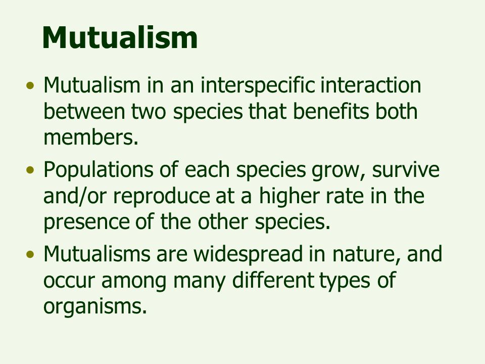 Mutualism Mutualism in an interspecific interaction between two species that benefits both members.