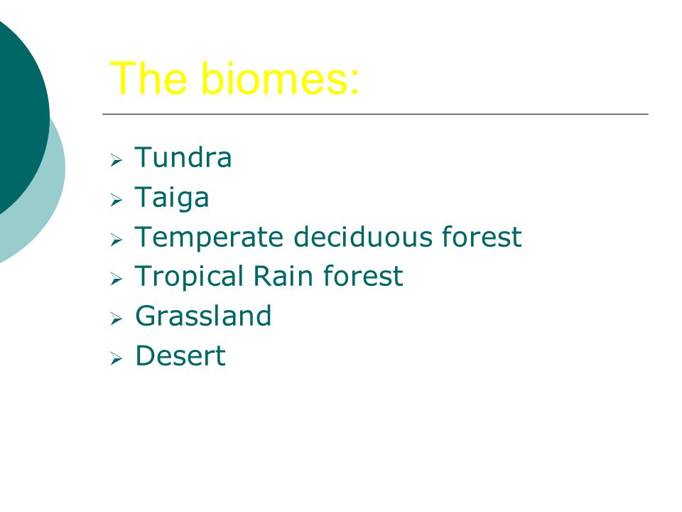 The biomes: Tundra Taiga Temperate deciduous forest