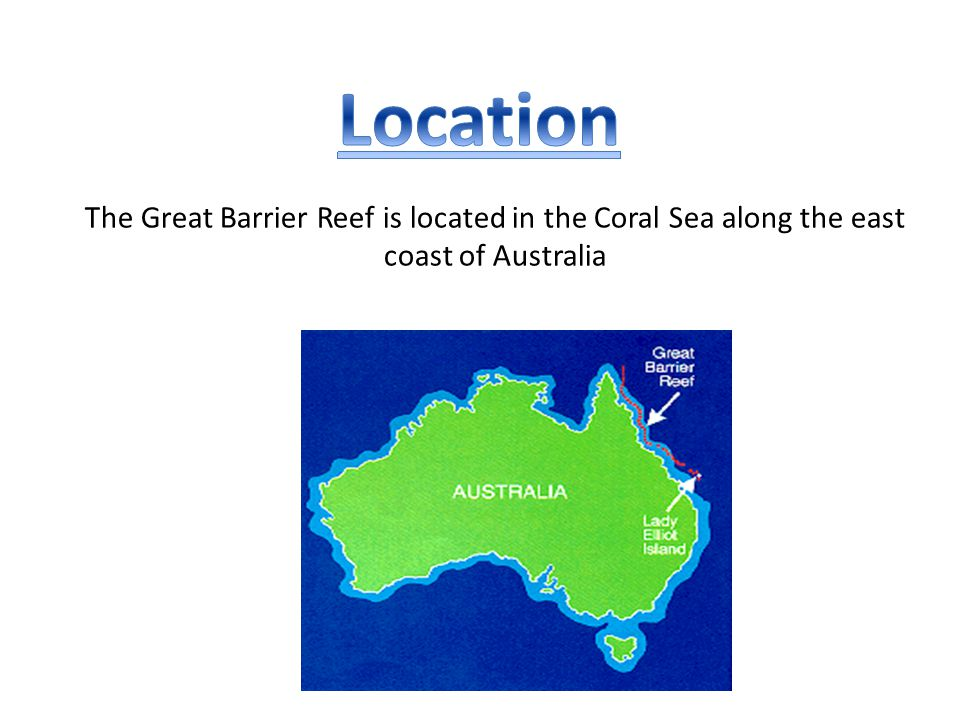 Location The Great Barrier Reef is located in the Coral Sea along the east coast of Australia