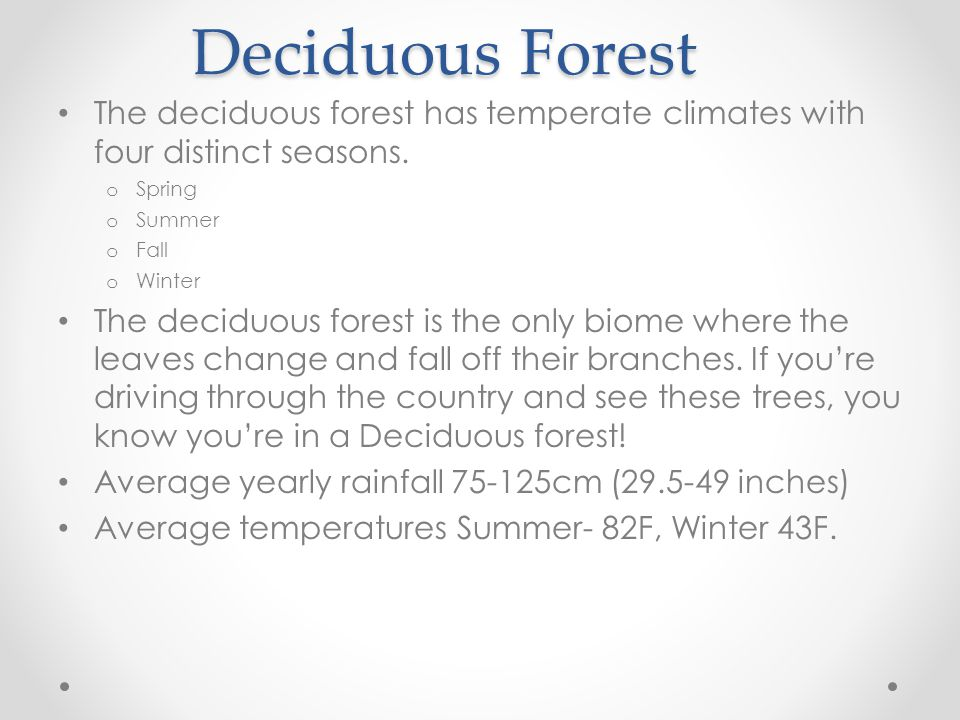 Deciduous Forest The deciduous forest has temperate climates with four distinct seasons. Spring. Summer.