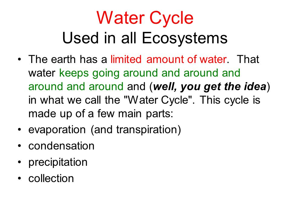 Water Cycle Used in all Ecosystems