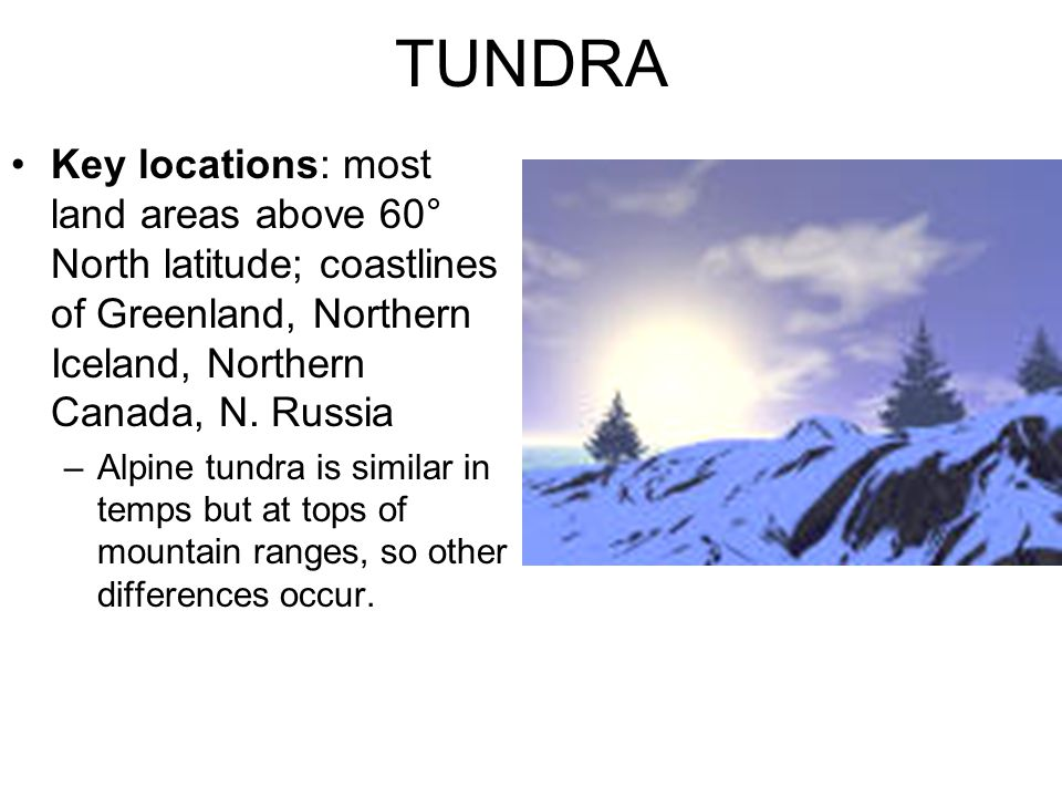 TUNDRA Key locations: most land areas above 60° North latitude; coastlines of Greenland, Northern Iceland, Northern Canada, N. Russia.